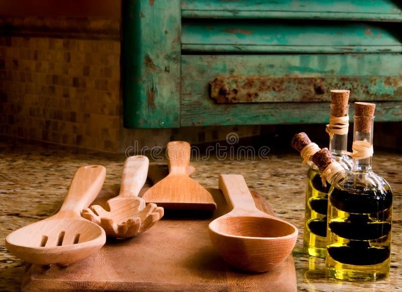 Kitchen De Provence 3. Kitchen Utensils Balsamic Vinegar and Olive Oil stock photo