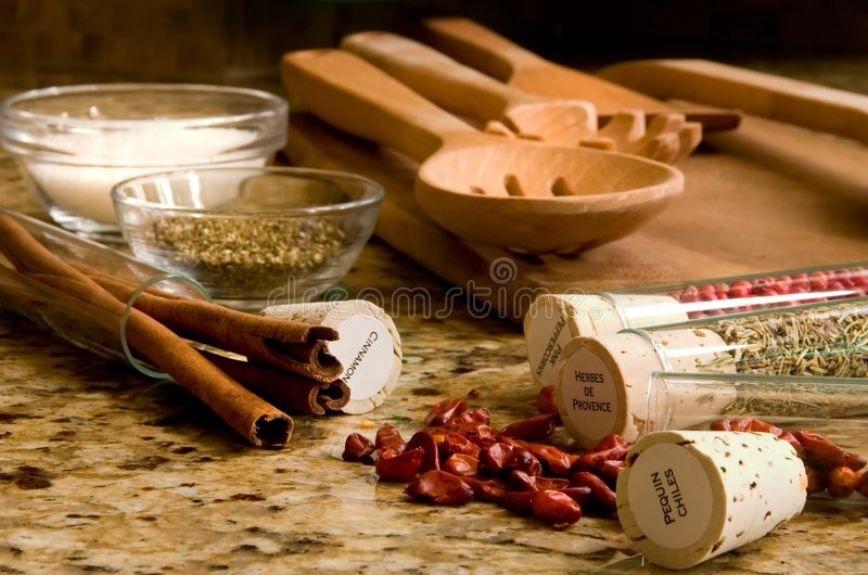 Kitchen De Provence. Provencal Kitchen with utensils spices and window light royalty free stock photos