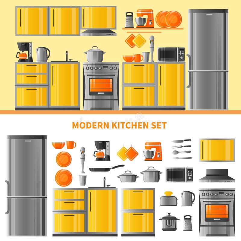 Kitchen Design Concept With Domestic Technique stock illustration