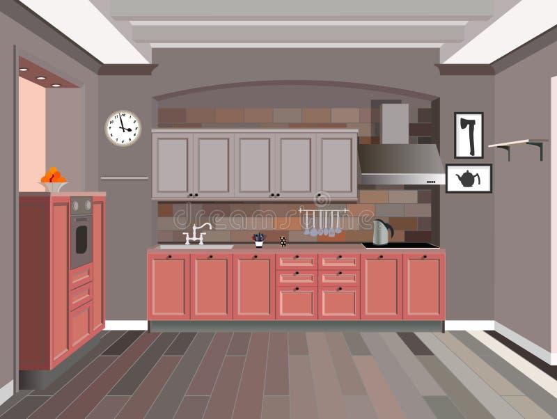 Kitchen design. Kitchen interior background with furniture.Design of modern kitchen royalty free illustration