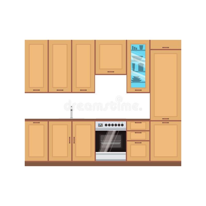 Kitchen design interior vector modern illustration room. Furniture vector illustration