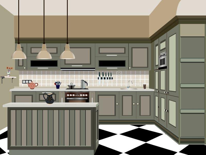 Kitchen design. Kitchen old design ,kitchen icon,interior room, symbol furniture, vector illustration royalty free illustration