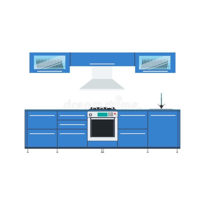 Kitchen design vector illustration interior modern food menu royalty free illustration