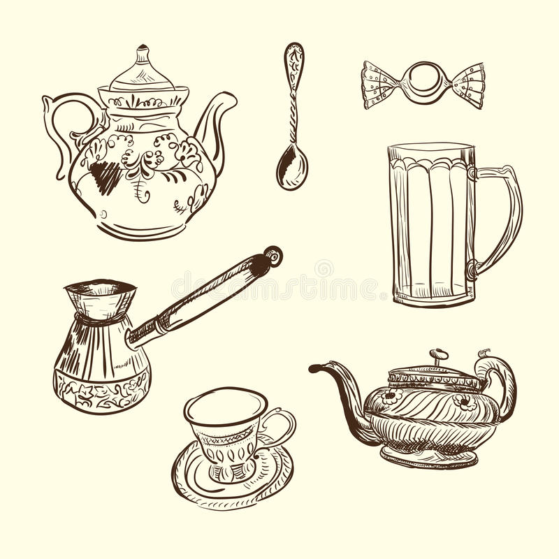 Free Kitchen Devices. Coffee Teapot Cup Spoon Sweet Stock Photography - 19785312