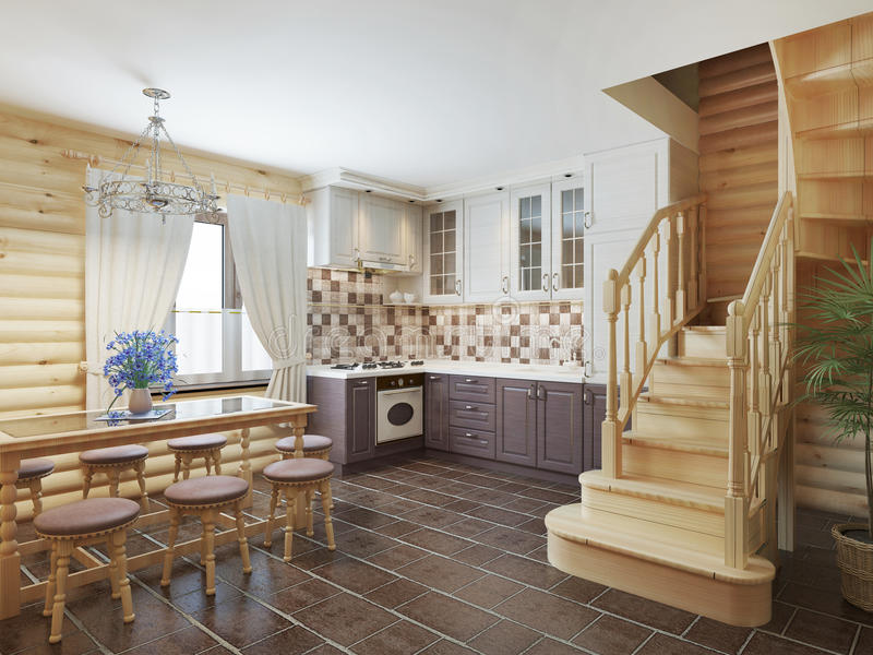 Kitchen and dining area in a log interior staircase to the second floor and a fireplace. stock illustration