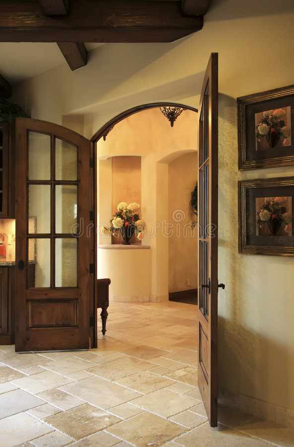 Kitchen and dining room doorway royalty free stock photo