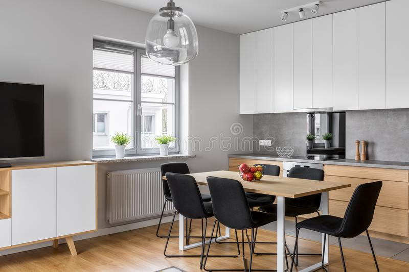 Kitchen with dining room stock images
