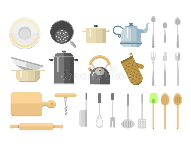 Kitchen dishes vector flat icons isolated household equipment everyday dishes furniture illustration. royalty free illustration