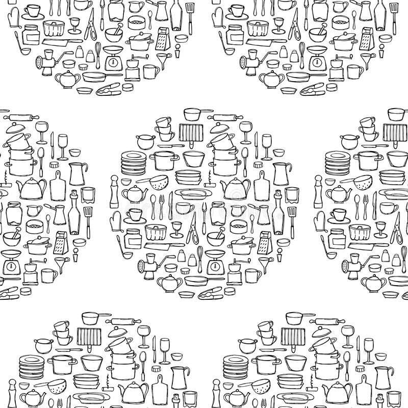 kitchen doodle seamless pattern circle hand drawn doodles coloring page sketch objects equipment wallpaper