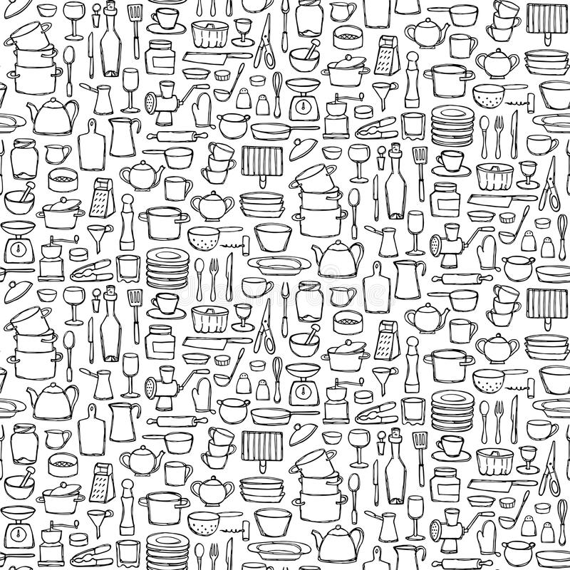 kitchen doodle seamless pattern hand drawn doodles coloring page sketch objects equipment wallpaper