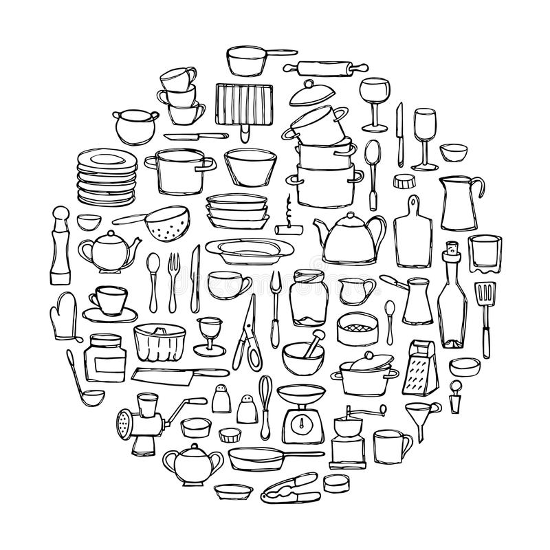 kitchen doodle set hand drawn doodles circle coloring page sketch objects equipment