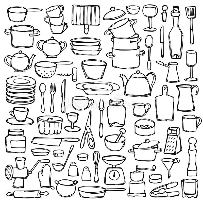 kitchen doodle set hand drawn doodles coloring page sketch objects equipment