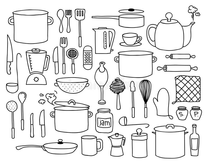 Kitchen doodle royalty free illustration