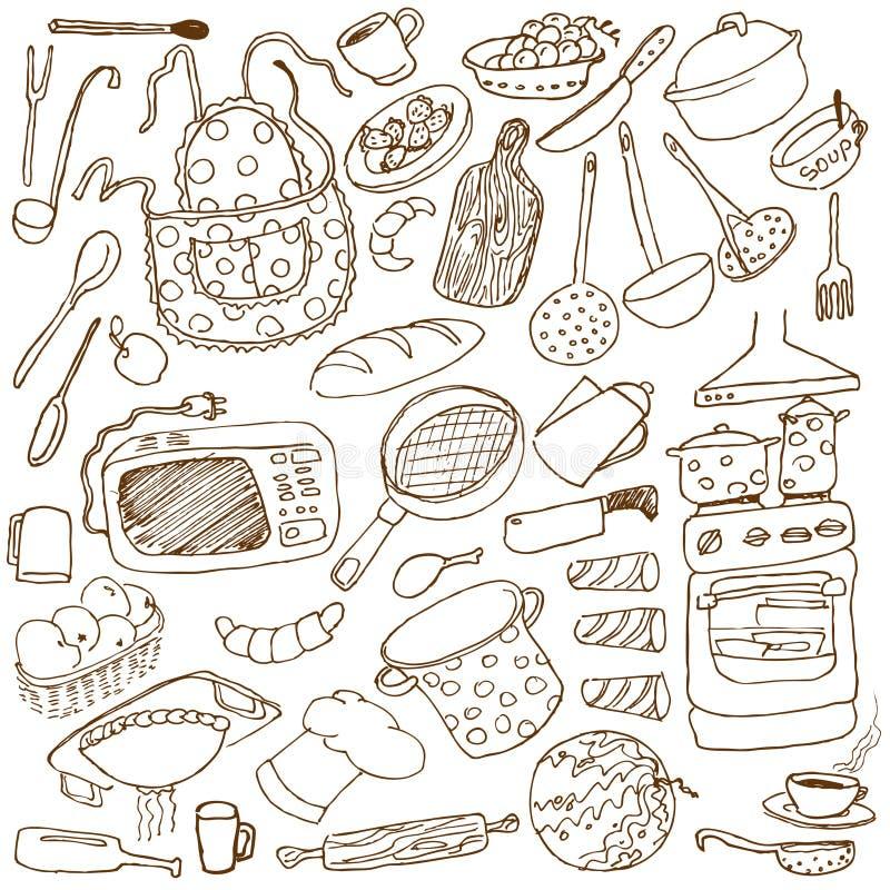 Download Kitchen doodles stock vector. Illustration of frying - 10992855