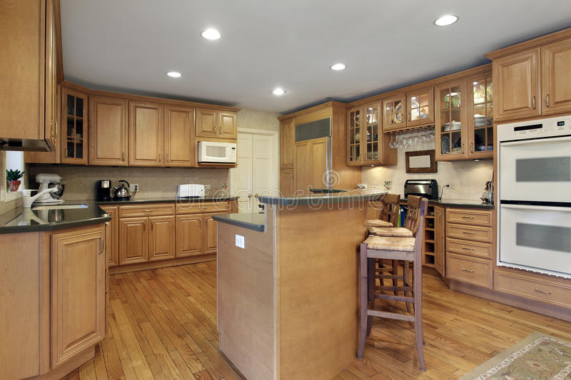 Kitchen with double decker island stock photo