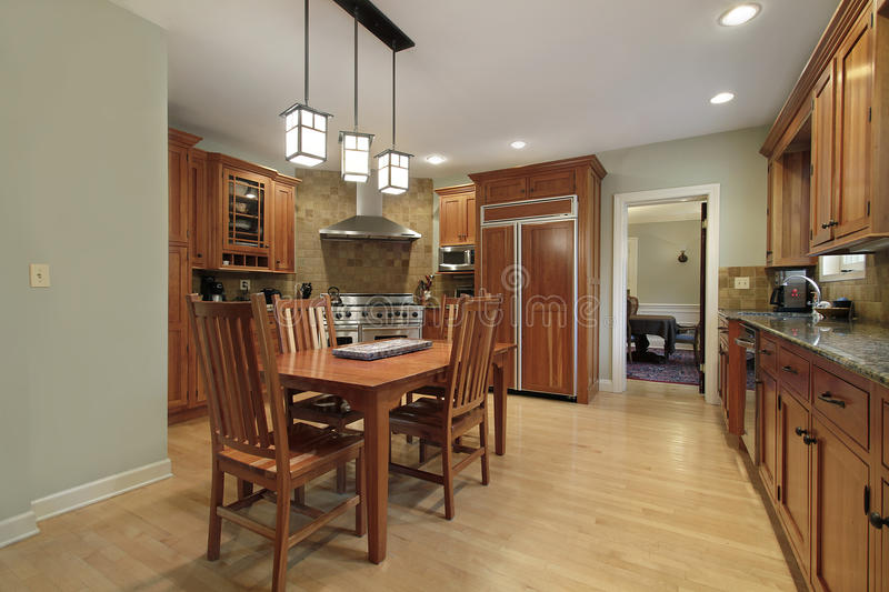 Kitchen with eating area stock images