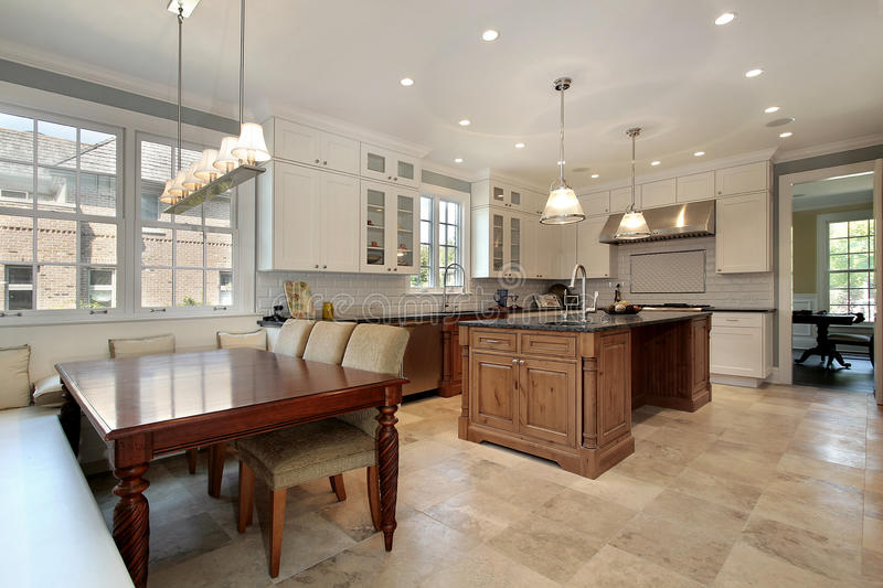 Kitchen With Eating Area And Bench Stock Image Image