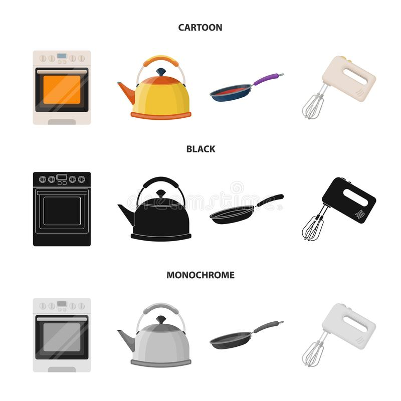 Kitchen equipment cartoon,black,monochrome icons in set collection for design. Kitchen and accessories vector symbol. Stock illustration stock illustration