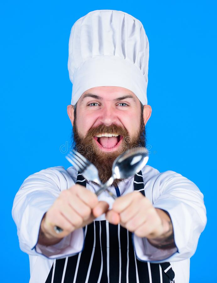 Kitchen equipment. Chef man in hat. Secret taste recipe. Vegetarian. Mature chef with beard. Dieting and organic food stock photography