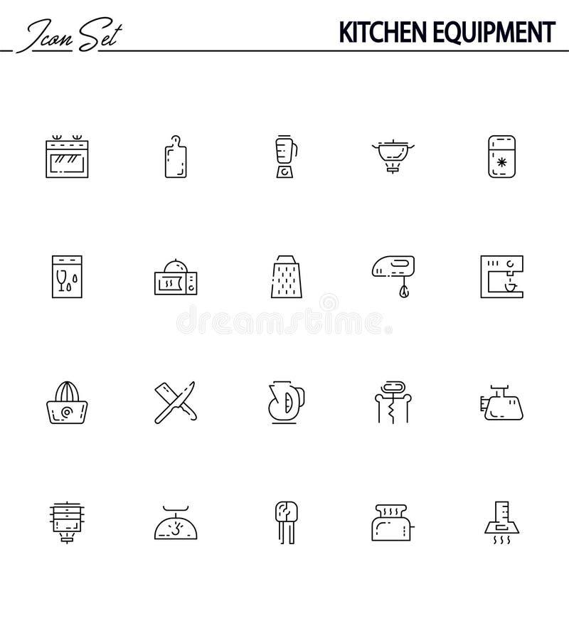 Kitchen equipment flat icon set. royalty free illustration