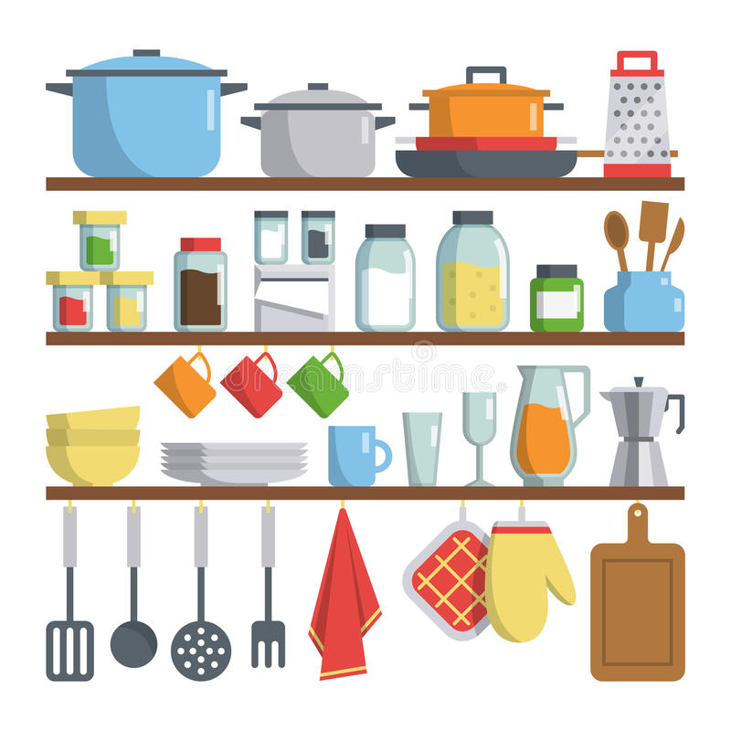 Kitchen Equipments On Shelf Illustration Stock Vector