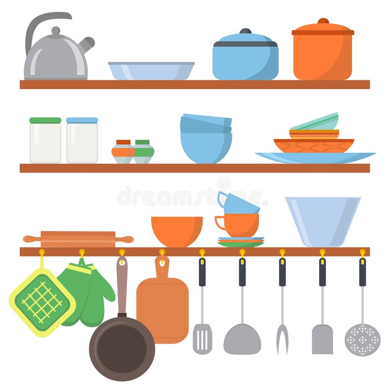 Kitchen equipments and utensils big set icons on shelf isolated on white background. Cooking tools objects collection royalty free illustration