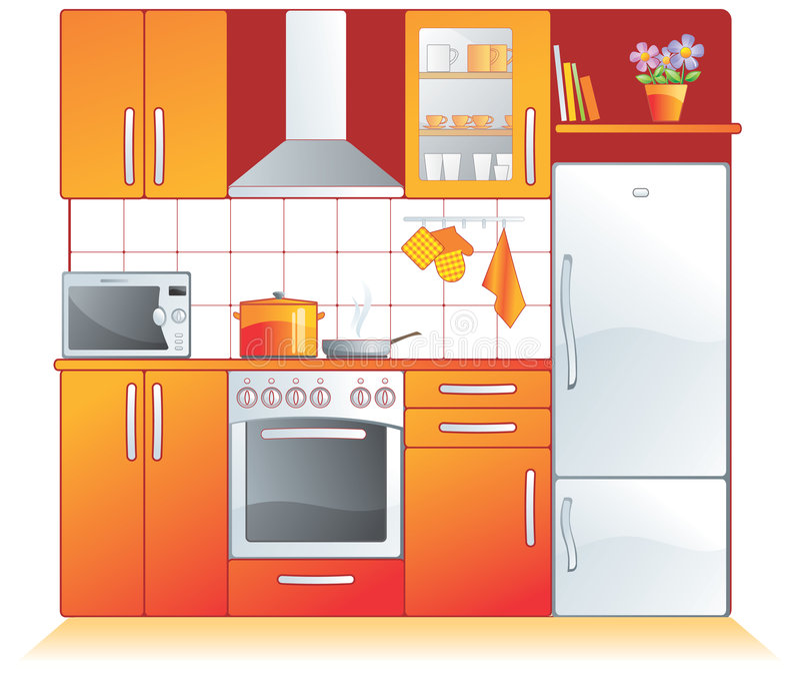 Kitchen fittings, appliances stock illustration