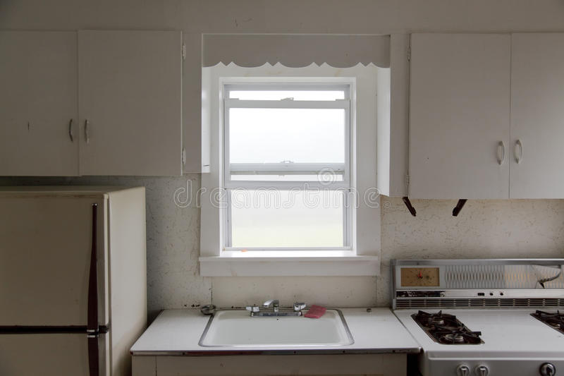 Kitchen and fog in the window royalty free stock image