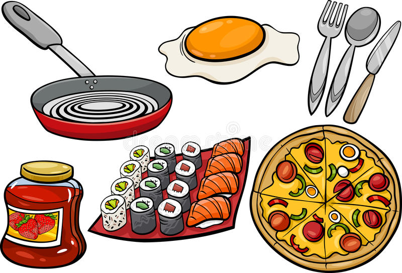 Kitchen and food objects cartoon set royalty free illustration