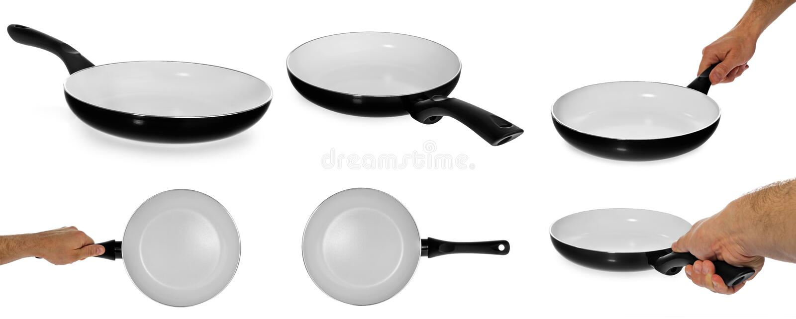 Kitchen frying pan with healthy, non-stick, ceramic, holding it royalty free stock images