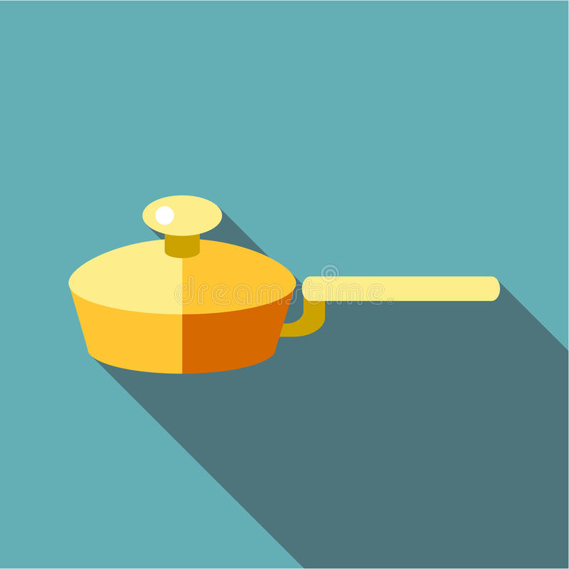 Kitchen frying pan icon, flat style. Kitchen frying pan icon. Flat illustration of kitchen frying pan vector icon for web royalty free illustration