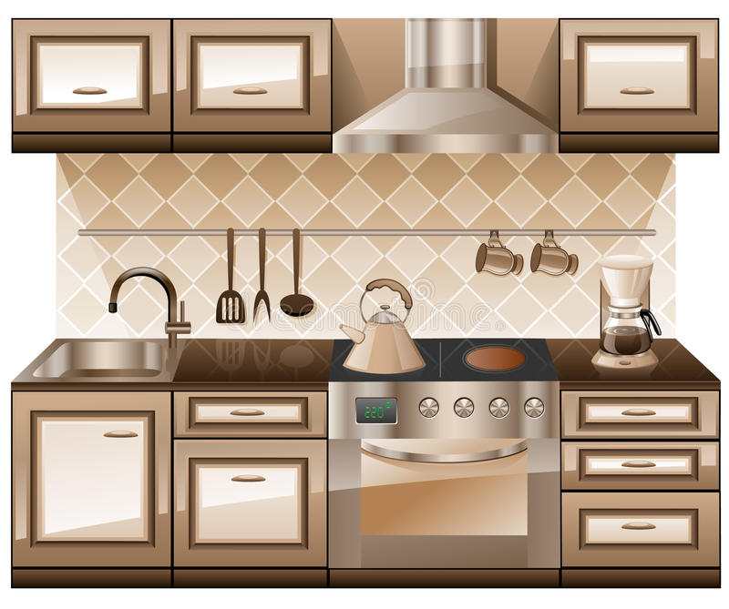 Kitchen furniture. Kitchen furniture isolated on white background royalty free illustration
