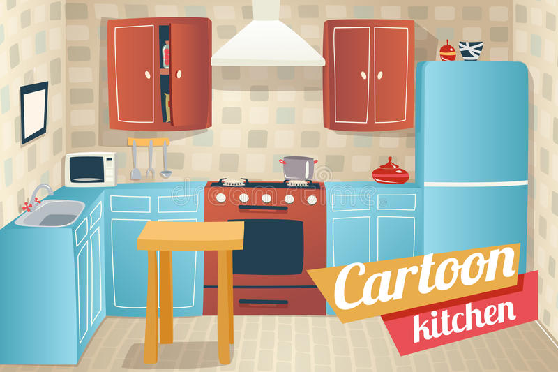 kitchen furniture accessories interior cartoon stock. Black Bedroom Furniture Sets. Home Design Ideas