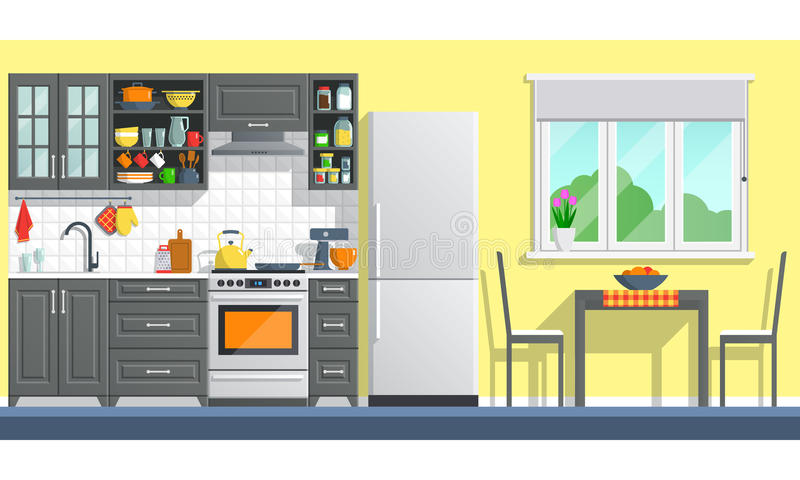 Kitchen furniture with appliances stock photo