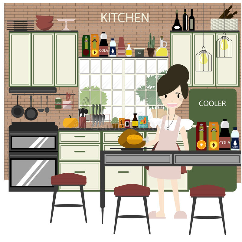 Kitchen with furniture. Flat style stock photos