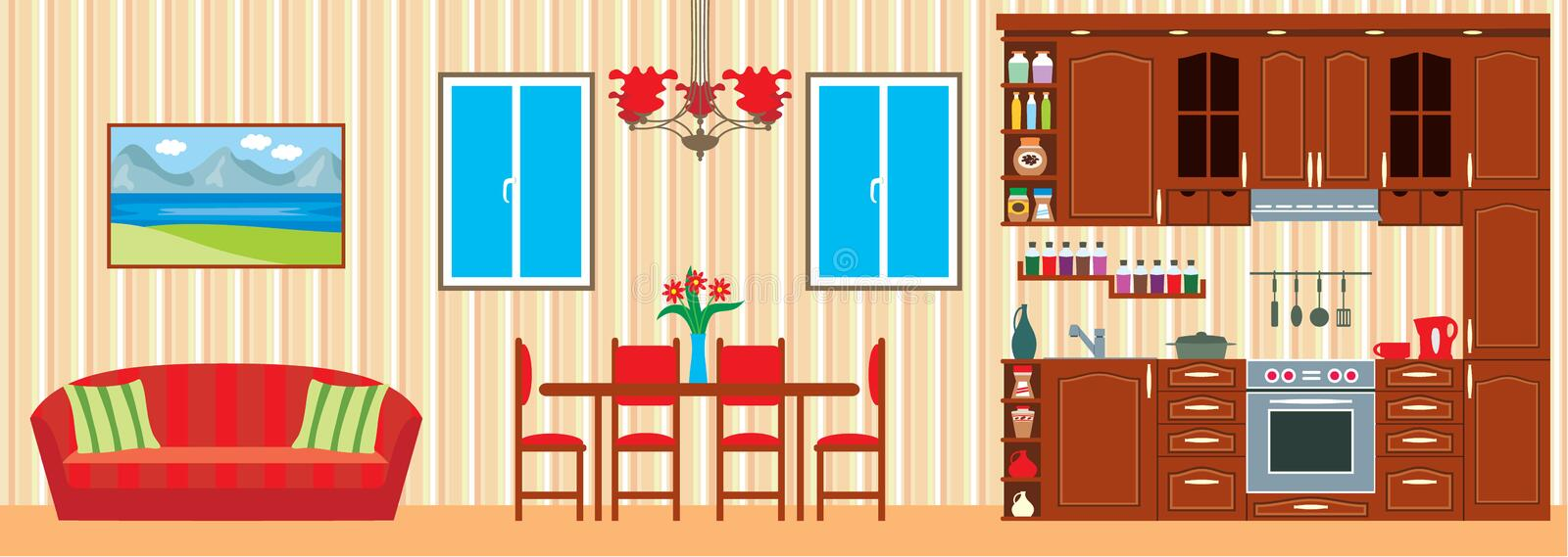 Kitchen furniture. Interior royalty free illustration