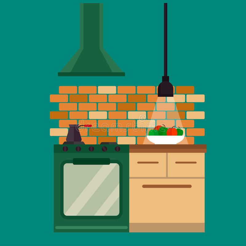 Kitchen and furniture interior flat style vector illustration royalty free illustration