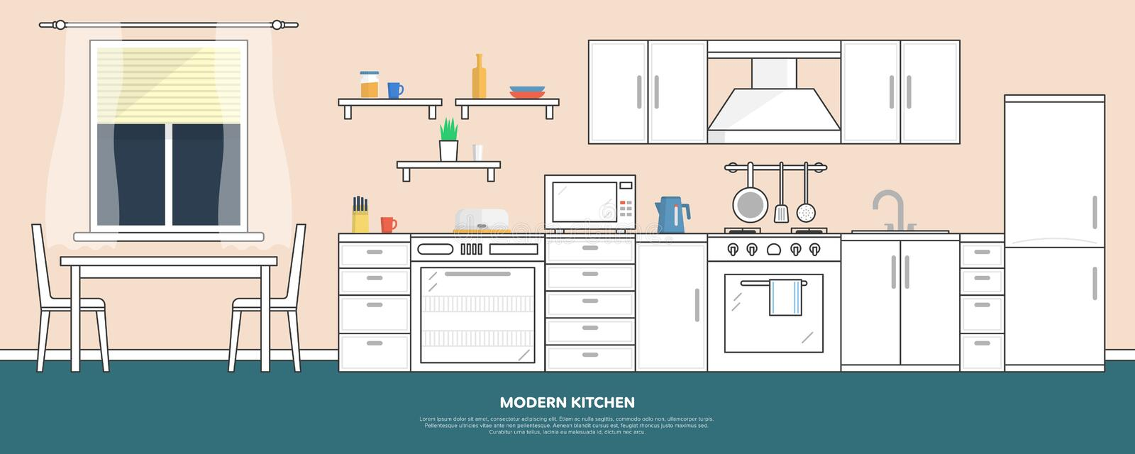Kitchen with furniture. Kitchen interior with table, stove, cupboard, dishes and fridge. Flat style vector illustration.  royalty free illustration