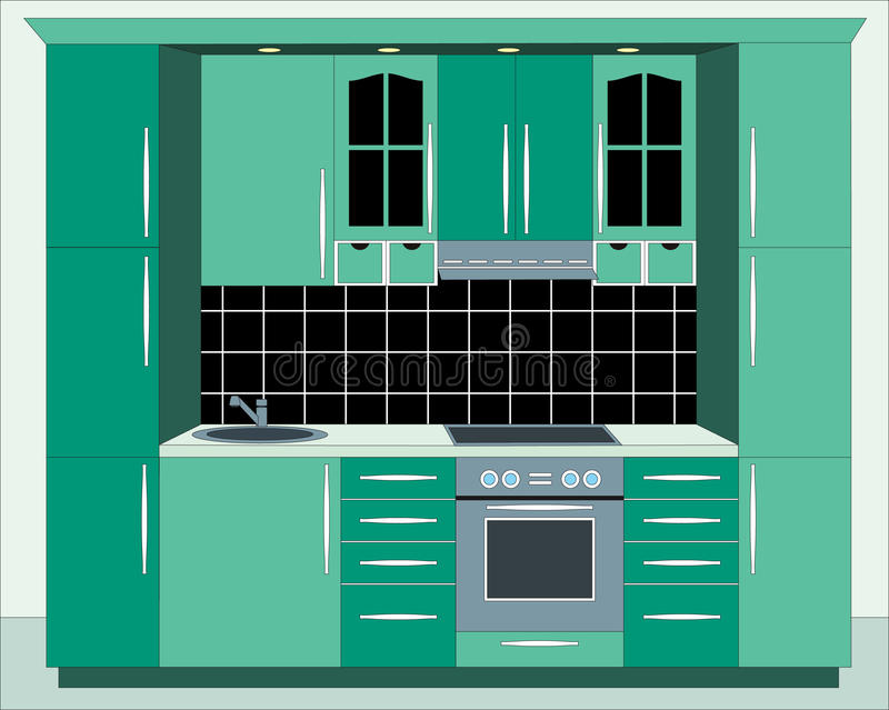 Download Kitchen Furniture. Interiors. Stock Vector - Illustration of green, counter: 9672940