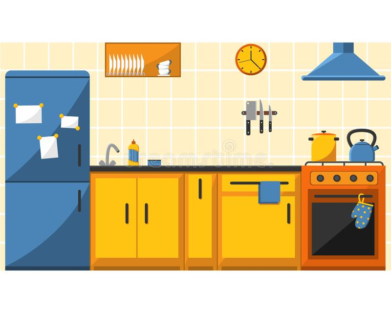 Kitchen with furniture and long shadows. Flat. royalty free illustration