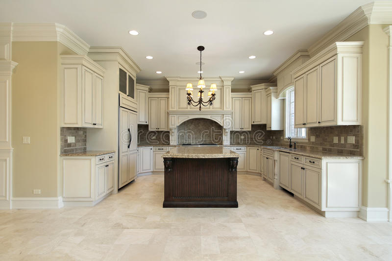Kitchen with granite island royalty free stock images