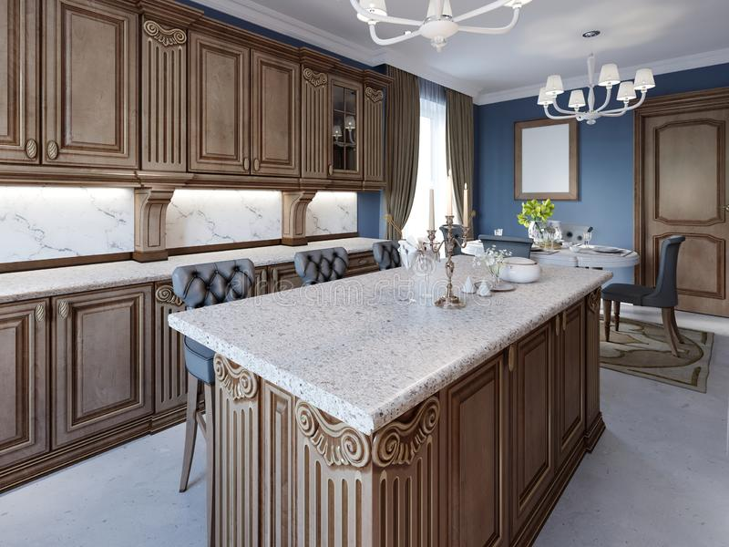 Kitchen with granite island and cherry wood cabinetry stock illustration