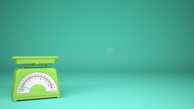 Kitchen green empty weigh scales, on turquoise background copy space, measuring diet food concept. Idea stock photography