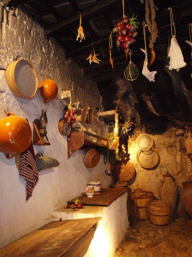Kitchen, Grotta Mangiapane, Sicily, Italy royalty free stock photos