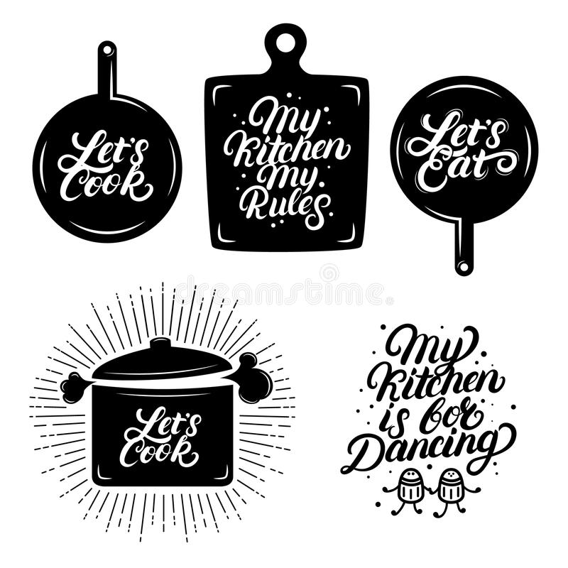 Kitchen hand written lettering quotes. royalty free illustration