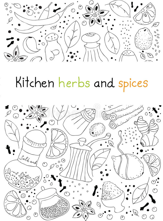 Free Kitchen Herbs And Spices Doodle Background Stock Images - 30242564