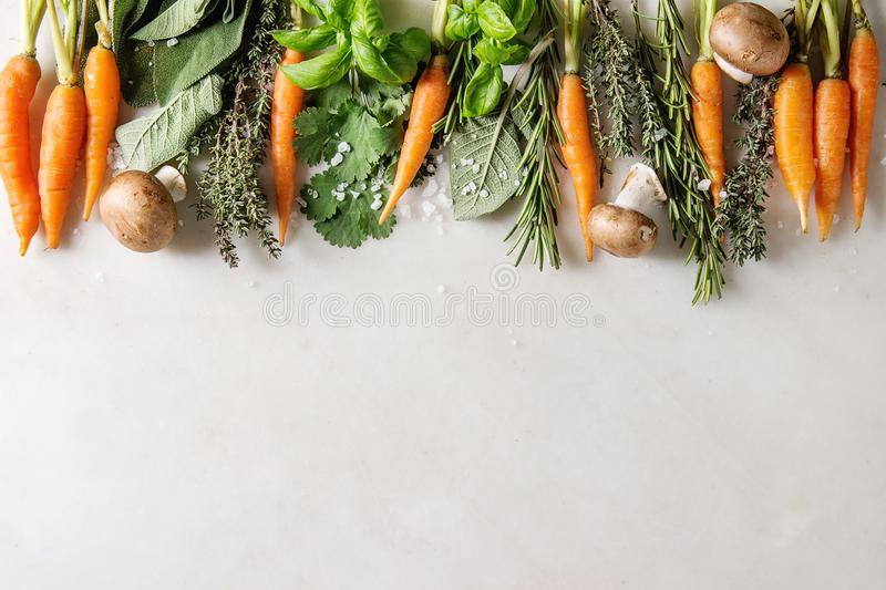 Kitchen herbs and carrots royalty free stock photo