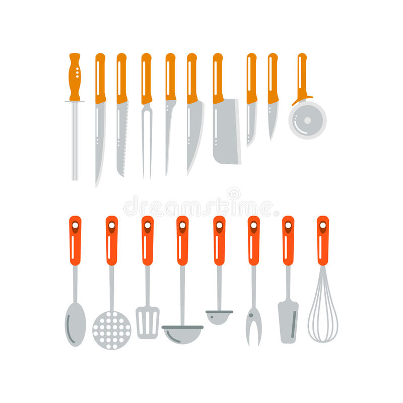 Download Kitchen Home Culinary Equipment Flat Vector Illustration. Stock Vector - Image: 83720907