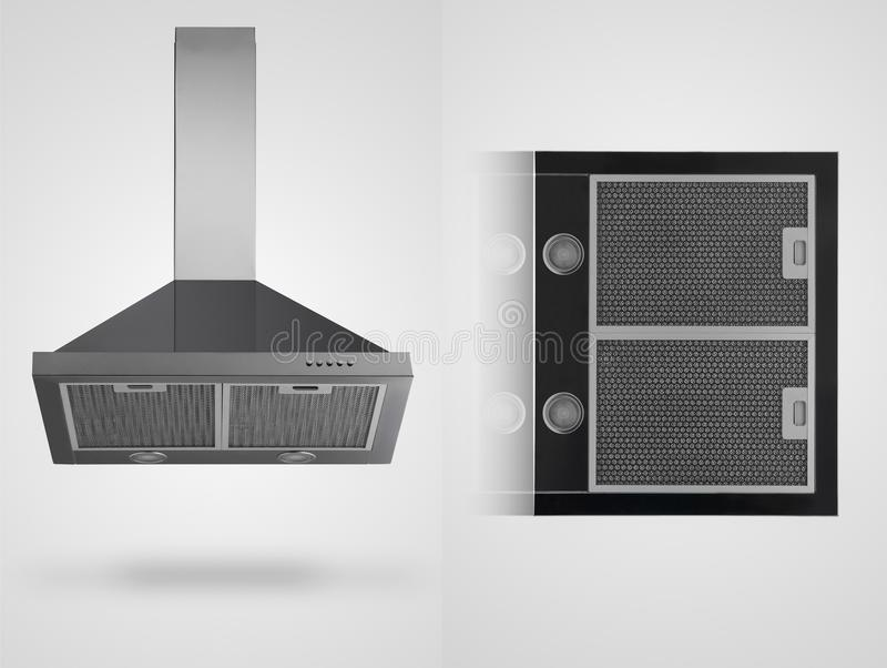 Kitchen hood on a white background. Grey kitchen hood in two angles on a white background. kitchen appliances. Isolated royalty free illustration