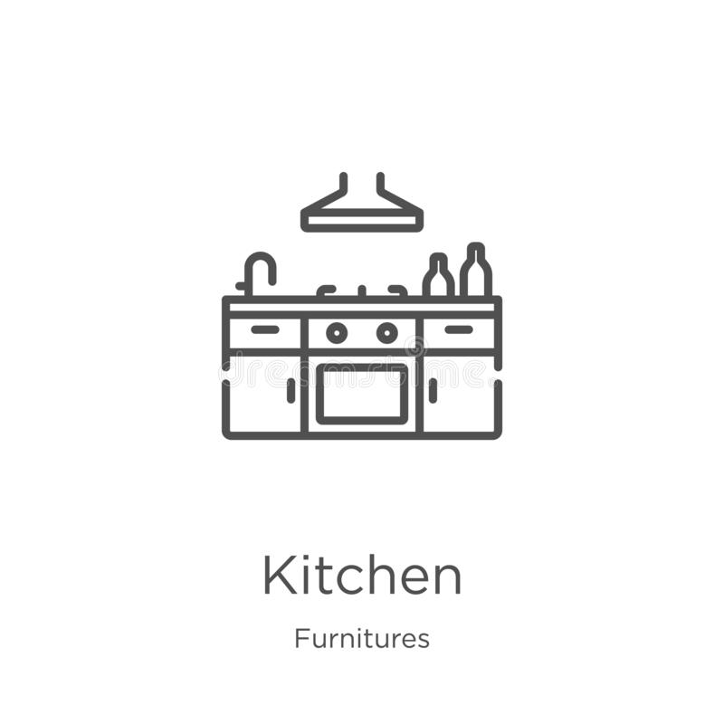 kitchen icon vector from furnitures collection. Thin line kitchen outline icon vector illustration. Outline, thin line kitchen stock illustration